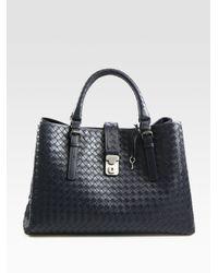 Bottega Veneta - Blue Roma Medium Intrecciato Leather Satchel - Lyst