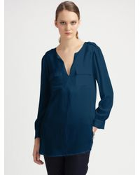 Joie | Blue Marlo Silk Top | Lyst