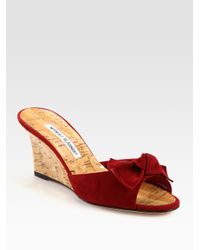 Manolo Blahnik | Red Suede and Cork Wedge Slide Bow Sandals | Lyst