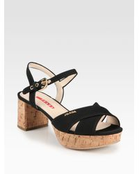 133347823d0 Lyst - Prada Crisscross Cork Platform Sandals in Black