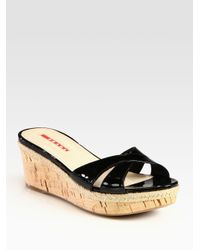 Prada - Black Patent Leather Cork Wedge Slides - Lyst