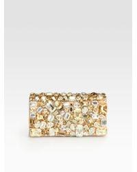 Prada Raso Stones Box Clutch in Gold (nude) | Lyst