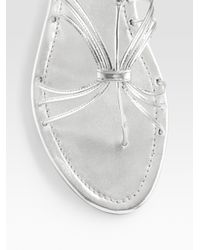 Prada - Metallic Leather Flat Sandals - Lyst