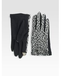Echo - Black Cheetah Touch Bow Gloves - Lyst
