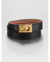 5c4fcd794285 Lyst - Fendi Wraparound Leather Bracelet in Black