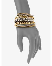 Giles & Brother | Metallic Two-tone Multi-row Chain Link Bracelet | Lyst