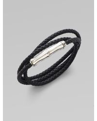 John Hardy | Black Leather And Sterling Silver Wrap Bracelet | Lyst