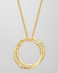 John Hardy | Metallic Bamboo 18k Gold Large Round Interlocking Pendant Necklace | Lyst