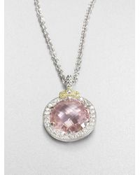 Judith Ripka | White Sapphire Pink Crystal Pendant Necklace | Lyst