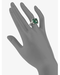 Judith Ripka - La Petite Green Quartz & Sterling Silver Cushion Cocktail Ring - Lyst