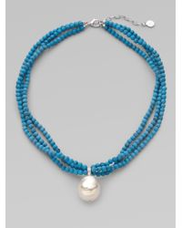 Majorica | Blue 22mm Baroque Pearl Beaded Necklace | Lyst
