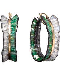 Nak Armstrong - Green Emerald Rainbow Moonstone Hoop Earrings - Lyst
