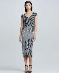 Nicole Miller Artelier | Black Bias Striped Vneck Maxi Dress | Lyst