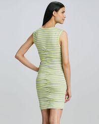 Nicole Miller Artelier - Yellow Striped Tiered Jersey Dress - Lyst