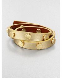 Tory Burch - Logo-studded Metallic Leather Double-wrap Bracelet - Lyst
