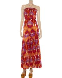 T-bags - Red Strapless Printed Jersey Maxi Dress - Lyst