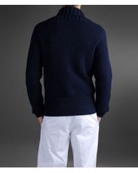 Emporio Armani - Blue Honeycomb Jacket with Shawl Collar for Men - Lyst