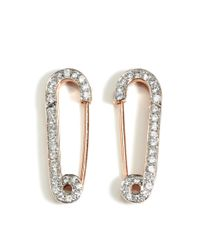 Genevieve Jones | Rose Gold White Safety Pin Earrings | Lyst