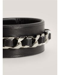 Givenchy - Black Shark-tooth Braided Leather Bracelet - Lyst