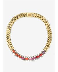 Iosselliani - Metallic Crystal-and-chain Necklace - Lyst