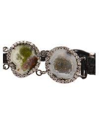 Kimberly Mcdonald - Black Macramé Bracelet with Triple Diamond Pavé - Lyst