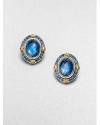 Konstantino - Blue Semi-Precious Multi-Stone Sterling Silver & 18K Yellow Gold Clip-On Button Earrings - Lyst