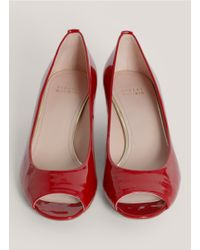 Stuart Weitzman - Red 'logosavoir' Peep-toe Leather Pumps - Lyst