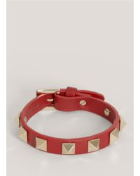 Valentino | Red Studded Narrow Leather Bracelet | Lyst