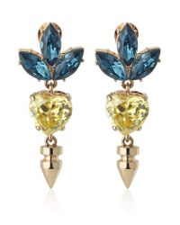 Mawi | Yellow Spike and Crystal Heart and Leaf Earrings | Lyst