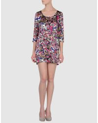 Olivia Rubin | Pink Belle Printed Silk-satin Shift Dress | Lyst