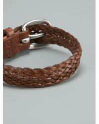Orciani | Brown Woven Leather Bracelet for Men | Lyst