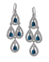 Carolee | Metallic Silver-tone Pave Pear Chandelier Earrings | Lyst