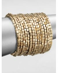 ABS By Allen Schwartz | Metallic Beaded Coil Bracelet | Lyst