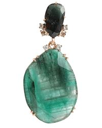 Federica Rettore - Green Emerald And Diamond Drop Earrings - Lyst