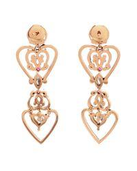 Sabine G   Pink 18k Rose Gold Diamond & Ruby Heart Earrings   Lyst