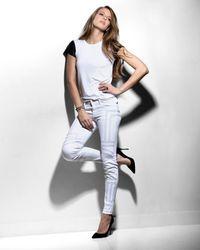 Bailey 44 - White Leather Look Sleeve Tee - Lyst