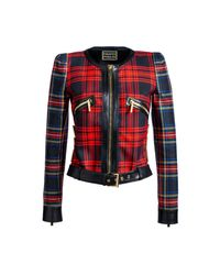 Fausto Puglisi | Red Chanellina Tartan Jacket | Lyst