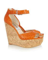 MICHAEL Michael Kors | Orange Ariana Ostrich-effect Leather Wedge Sandals | Lyst