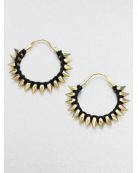 A.L.C. | Metallic Thread Wrapped Spiked Hoop Earrings | Lyst