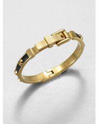 Michael Kors | Metallic Studded Leather Inset Bangle Bracelet tangerine | Lyst