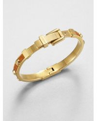 Michael Kors | Metallic Studded Leather Inset Bangle Bracelet | Lyst
