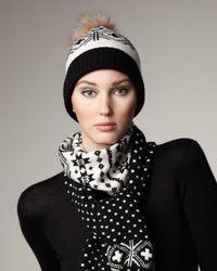 Sofia Cashmere | Black Fair Isle Cashmere & Fox Hat | Lyst