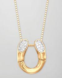 John Hardy | Metallic Bamboo 18k Gold Pave Diamond Horseshoe Pendant Necklace | Lyst