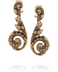 Oscar de la Renta   Metallic Goldplated Clip Earrings   Lyst