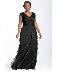 Adrianna Papell | Black Iridescent Chiffon Petal Gown | Lyst