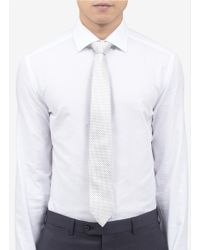 Armani | Gray Houndstooth Jacquard Silk Tie for Men | Lyst