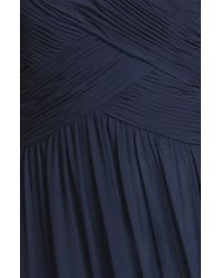 JS Boutique | Blue Strapless Ruched Chiffon Gown | Lyst