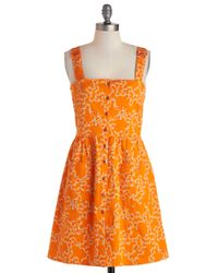 ModCloth | Orange Clustery Day Dress | Lyst