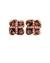 Oscar de la Renta | Red Bejeweled Pierced Crystal Earrings | Lyst