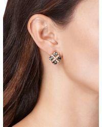 Oscar de la Renta - Red Bejeweled Pierced Crystal Earrings - Lyst